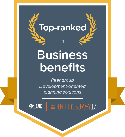 Top ranked in business benefits in the development-oriented planning solutions peer group